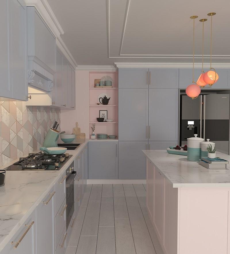 آشپزخانه ا کابینت نئوکلاسیک سفید و جزیره