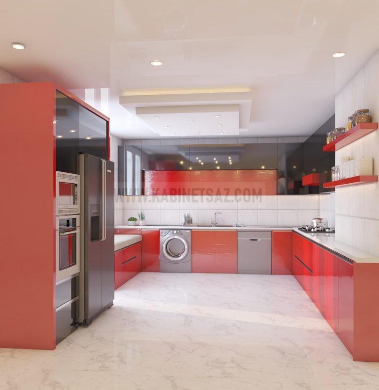 کابینت اشپزخانه قرمز با طوسی