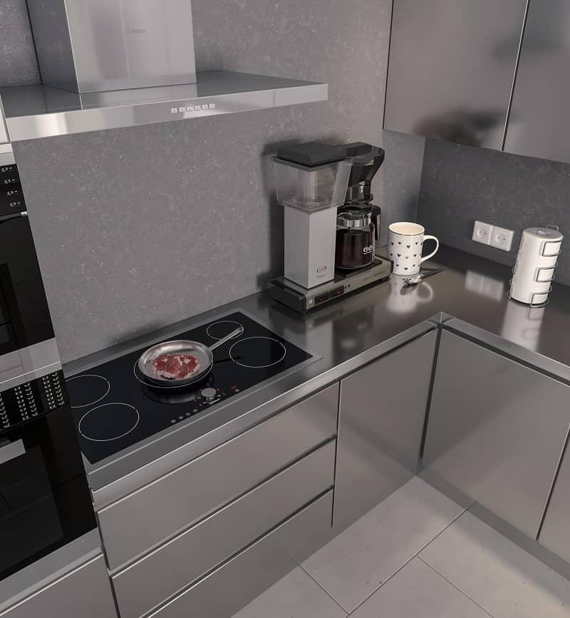 نمای بالا از آشپزخانه با کابینت تمام فلزی