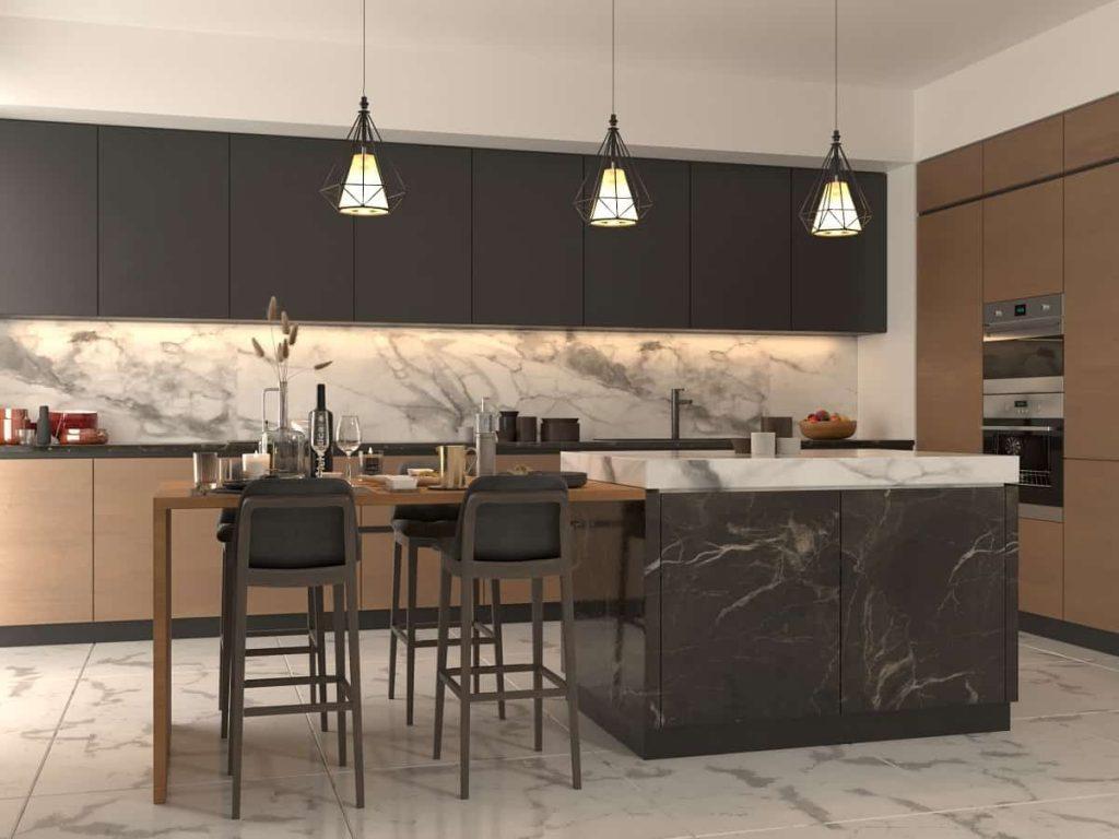 نمونه واقعی از خانه و آشپزخانه سبک مدرن با رنگ کراملی و مشکی