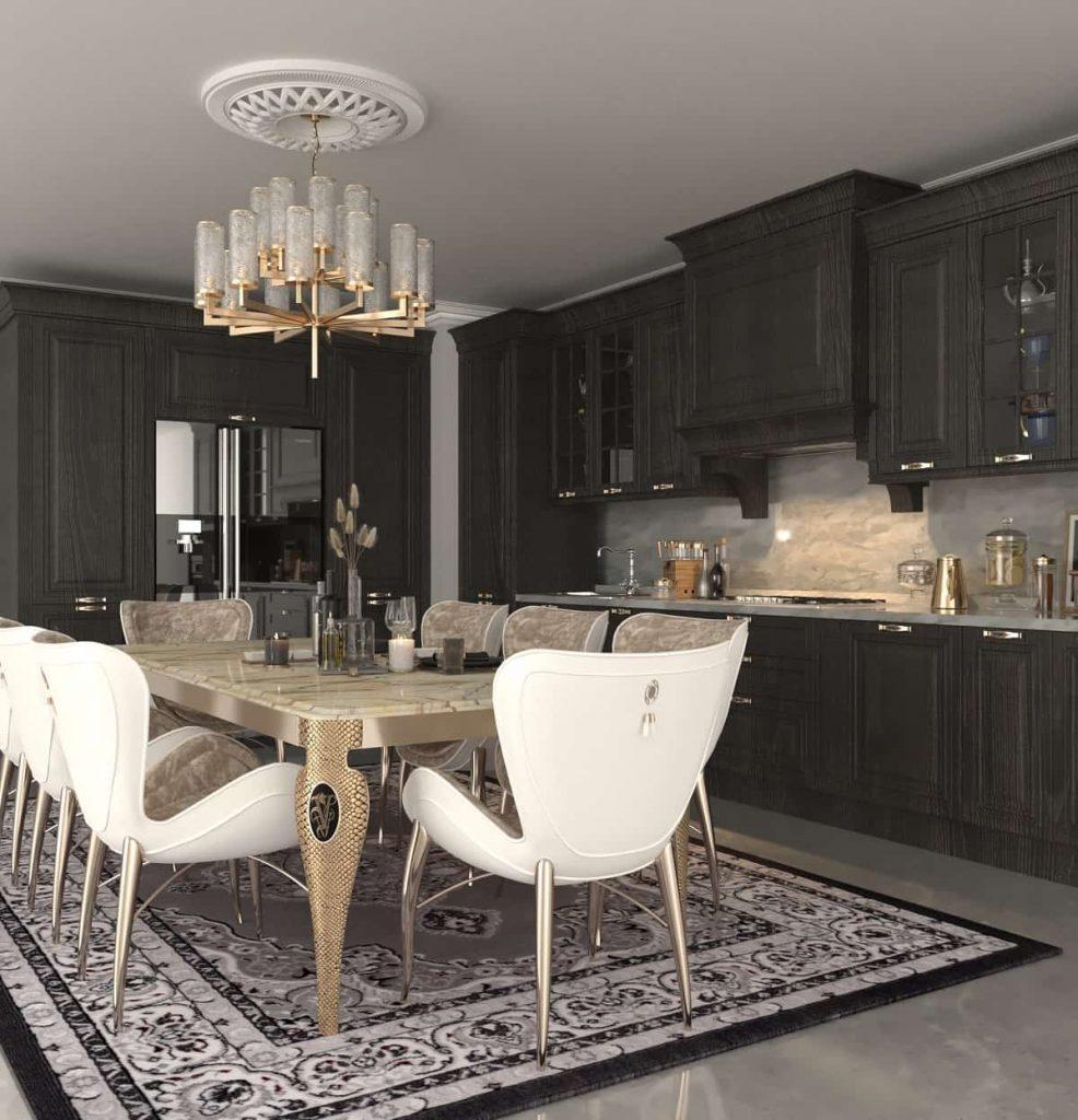 آشپزخانه سبک سلطنتی  طوسی و مشکی رنگ